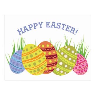 Retro Easter Eggs in the Grass Postcard