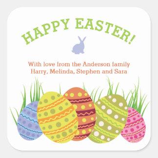 Retro Easter Eggs in the Grass Square Sticker