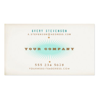 Rétro éclat de turquoise de typographie de style d carte de visite