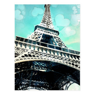 Retro Eiffel Tower Post Card in Teal