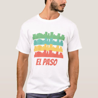 Retro El Paso TX Skyline Pop Art T-Shirt
