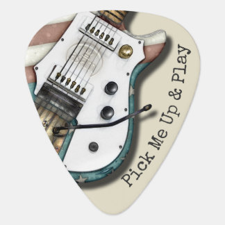 Retro Electric Guitar Patriotic American Flag Guitar Pick