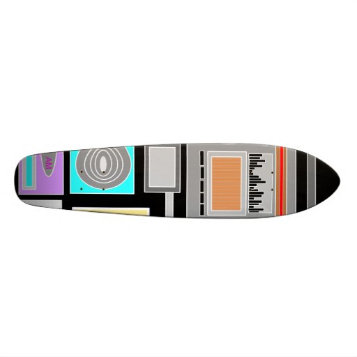Retro electronics jumble on black custom skateboard