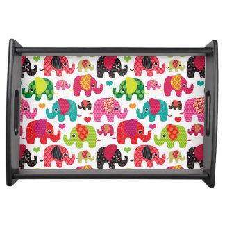 retro elephant kids pattern wallpaper service tray
