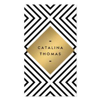 Rétro emblème noir et blanc audacieux d'or de carte de visite standard