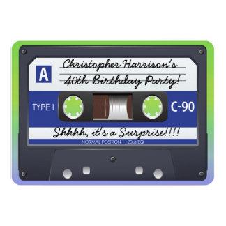 Rétro enregistreur à cassettes 80s de fête carton d'invitation  12,7 cm x 17,78 cm