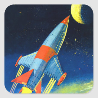 Rétro espace Rocket de Sci fi vintage le 'au Moon Autocollant Carré