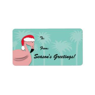 Rétro étiquette de cadeau de Noël - flamant rose Étiquettes D'adresse