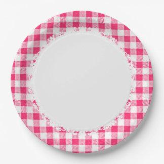 Retro-Everyday_Picnic_Pink-Check_Plaid Paper Plate