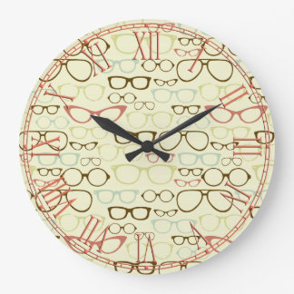 Retro Eyeglass Hipster Large Clock