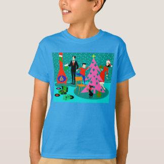Rétro famille équilibrant le T-shirt d'arbre de