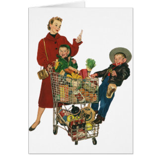 Retro Family, Mom and Kids, Cart Grocery Shopping Card