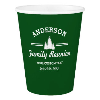 Retro Family Reunion or Trip | Rustic Pine Trees Paper Cup