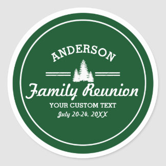Retro Family Reunion or Trip | Rustic Pine Trees Round Sticker