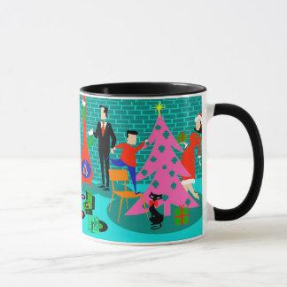 Retro Family Trimming the Christmas Tree Mug