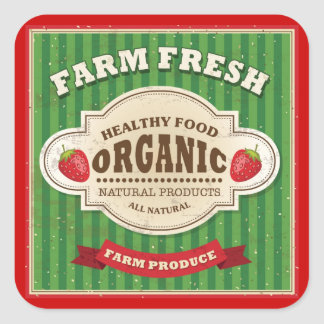 Retro Farm Fresh Poster Design Square Sticker