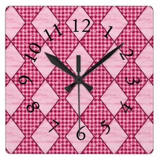 Retro-Farmhouse-Mod-Country-Red-Accent-Clocks Square Wall Clock