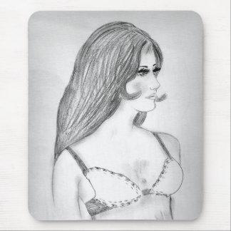 Retro Fashion 1970s Sketch Mouse Pad