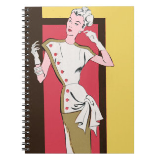 Retro Fashion Dress With Buttons Notebooks