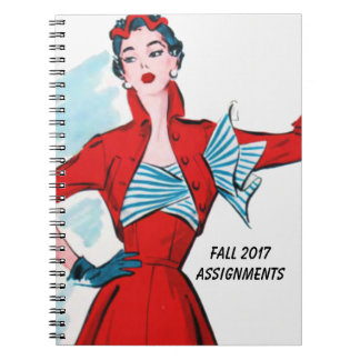 Retro Fashion Lady in Red Notebooks