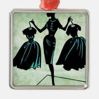 Retro Fashionista Silhouette Metal Ornament