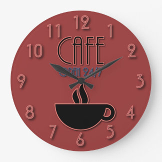 Retro Faux Neon Cafe Open 24|7 Red and Blue Wallclocks