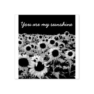Retro field of sunflowers rubber stamp