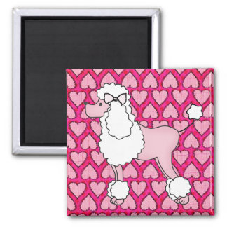 Retro Fifties Pink Poodle Magnet