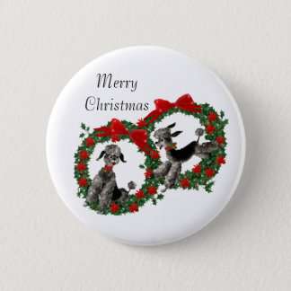 Retro Fifties Poodles in Christmas Wreaths 2 Inch Round Button