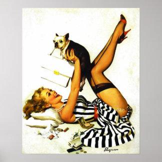Rétro fille de pin-up vintage de Gil Elvgren avec Affiche