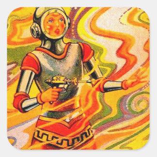 Rétro fille vintage de l'espace de kitsch de Sci Sticker Carré