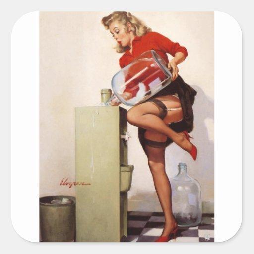 Rétro fille vintage de pin-up de bureau de Gil Stickers Carrés
