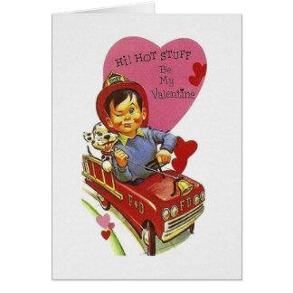 Retro Fire Fighter Hot Stuff Valentine's Day Card