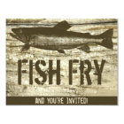 Retro Fish Fry Vintage Fish Food Wood Texture Art Card