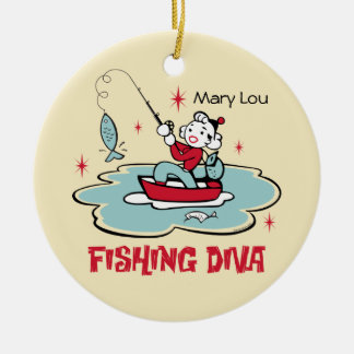 Retro Fishing Diva Personalized Ornament