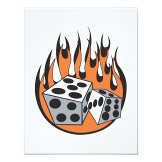 retro flaming dice design personalized invitation