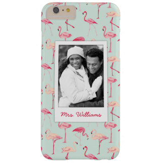 Retro Flamingo Pattern   Add Your Photo & Name Barely There iPhone 6 Plus Case