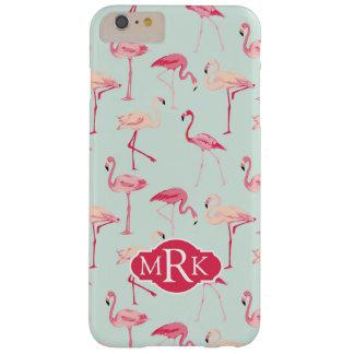 Retro Flamingo Pattern | Monogram Barely There iPhone 6 Plus Case