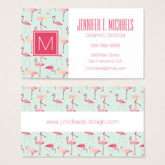 Retro Flamingo Pattern | Monogram Business Card