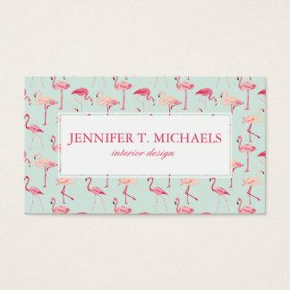 Retro Flamingo Pattern | Monogram Business Card