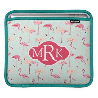 Retro Flamingo Pattern | Monogram Sleeve For iPads
