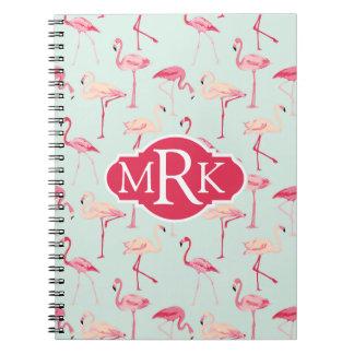 Retro Flamingo Pattern | Monogram Spiral Notebook