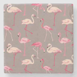 Retro Flamingos 2 Stone Coaster