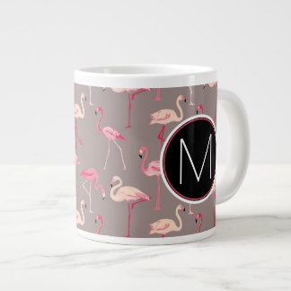 Retro Flamingos | Monogram Giant Coffee Mug