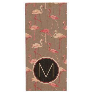 Retro Flamingos | Monogram Wood USB 2.0 Flash Drive
