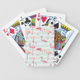Retro Flamingos On Mint Stripes Bicycle Playing Cards