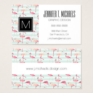 Retro Flamingos On Mint Stripes Business Card
