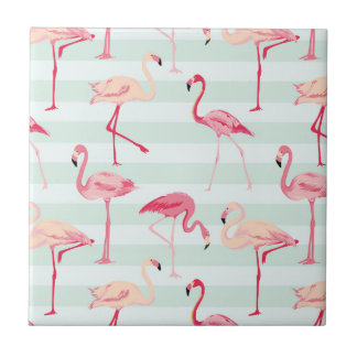 Retro Flamingos On Mint Stripes Ceramic Tiles