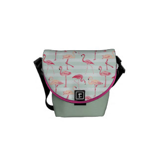 Retro Flamingos On Mint Stripes Courier Bag