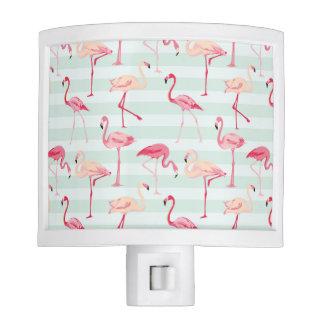 Retro Flamingos On Mint Stripes Nite Light